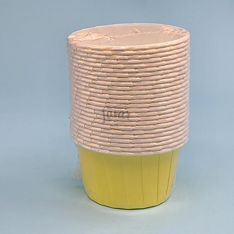 Бумажная форма для маффинов с усиленным бортиком желтая 25 шт