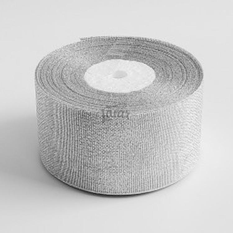 Парчовая лента 3,8 см серебряная, рулон