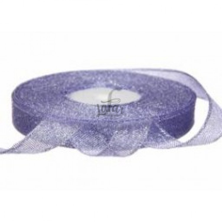 Парчовая лента 1,2 см светло-сиреневая, рулон