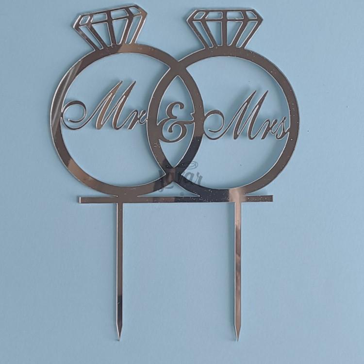 Топпер Обручальные кольца Mr&Mrs - серебро 14.5х20 см
