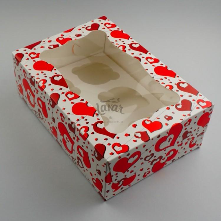 Коробка для капкейков на 6 шт Сердечки
