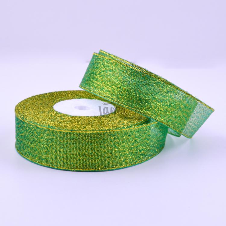 Парчовая лента 2,5 см зеленая, рулон