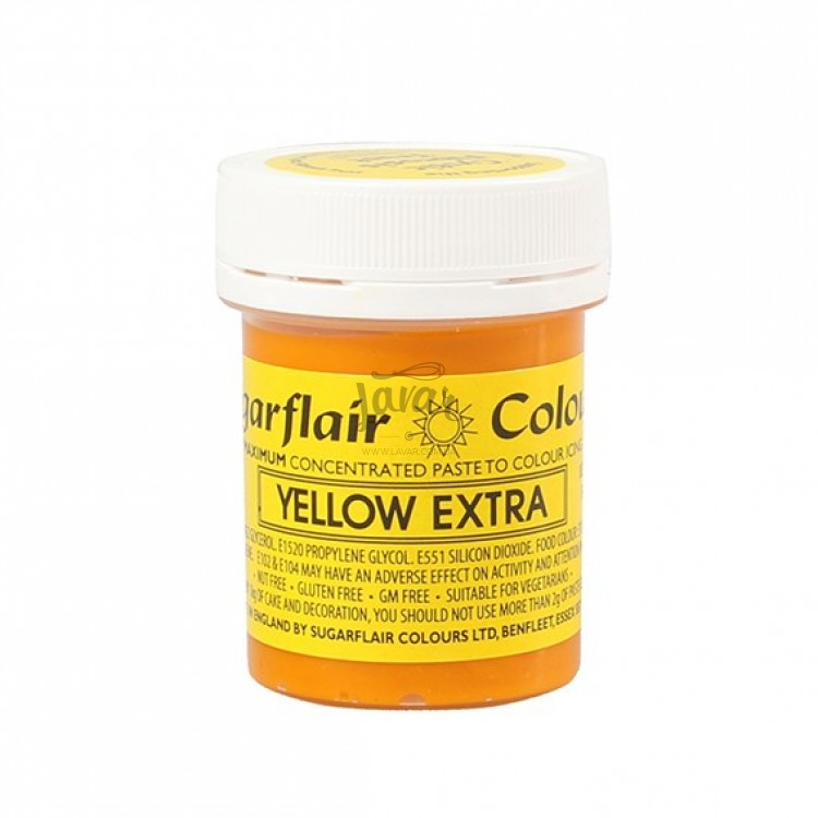 Гель-паста Sugarflair Екстра жовта/Yellow Extra 42 гр