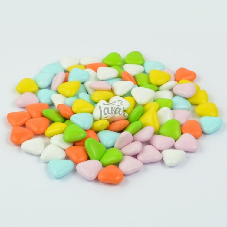 Шоколадные сердечки разноцветные, 100 гр развес